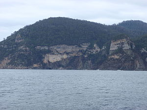 Forestier Peninsula - The high yellow bluff on the Forestier Peninsula.