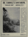 "Highland Home, Dr. Carroll's Sanitarium (""American medical directory"", 1906 advert).png"