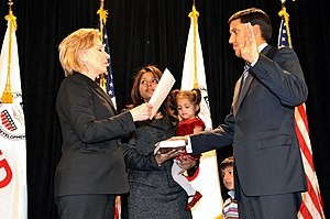 Rajiv Shah - January 7, 2010: U.S. Secretary of State Hillary Clinton during the swearing-in ceremony of Shah as new USAID Coordinator, in Washington, DC.