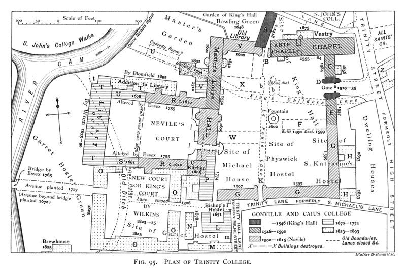 A historical plan of the development of Trinity College by 1897. Historical plan of Trinity College, Cambridge (1897) - cambridgedescri00atkiuoft 0571.png