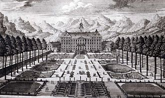 Schloss Hohenburg - Schloss Hohenburg and formal gardens c. 1720, engraving by Michael Wening; the ruined Hohenburg is visible in the background to the left of the palace.
