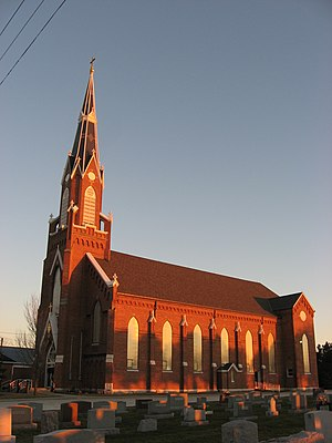 National Register of Historic Places listings in Jay County, Indiana - Image: Holy Trinity Catholic Church in Trinity, Indiana, front and western side