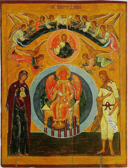 Icon of  Divine Wisdom (София Премудрость Божия) from St George Church in Vologda  (16th century).