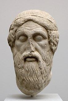 """Kopf des Homer (""""Epimenides-Typus""""). Nachbildung einer römischen Kopie des griechischen Originals aus dem 5. Jahrhundert v. Chr. Münchner Glyptothek (Quelle: Wikimedia)"""