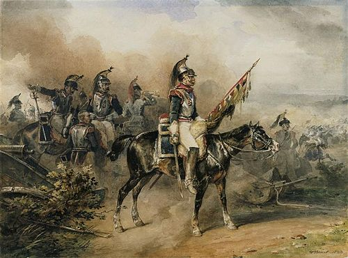 French cuirassiers (troopers of the 3rd regiment) during a charge. General of Division Marquis de Grouchy led his heavy cavalry brilliantly at Vauchamps, breaking and routing a number of enemy infantry squares. Horace Vernet-Charge of the cuirassiers.jpg