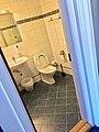 Hotel room toilet (bathroom) with hand wash sink, mirror, waste bin, toilet, etc., in Bergen, Norway 2018-03-16 B.jpg