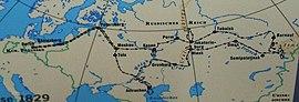 Reiseweg von Humboldts Russlandexpedition (Quelle: Wikimedia)