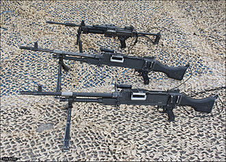 Machine gun - Top: IMI Negev (light machine gun). Bottom: FN MAG (general purpose machine gun).