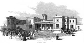 Ely, Cambridgeshire - Engraving from The Illustrated London News of the station at Ely during the opening on 25 October 1847 of the Lynn and Ely Railway, now part of the Fen Line