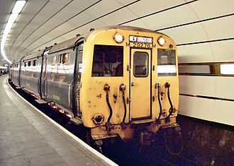 Merseyrail - Past: A British Rail Class 503 train on the Liverpool Loop and Link underground system. This train was one of the original batch built by the LMS in 1938 and was replaced by the 507/508 fleet introduced in the 1980s.