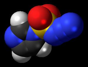 Imidazole-1-sulfonyl azide - Image: Imidazole 1 sulfonyl azide 3D spacefill