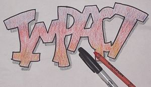 """Lettering - """"Impact"""" for poster."""