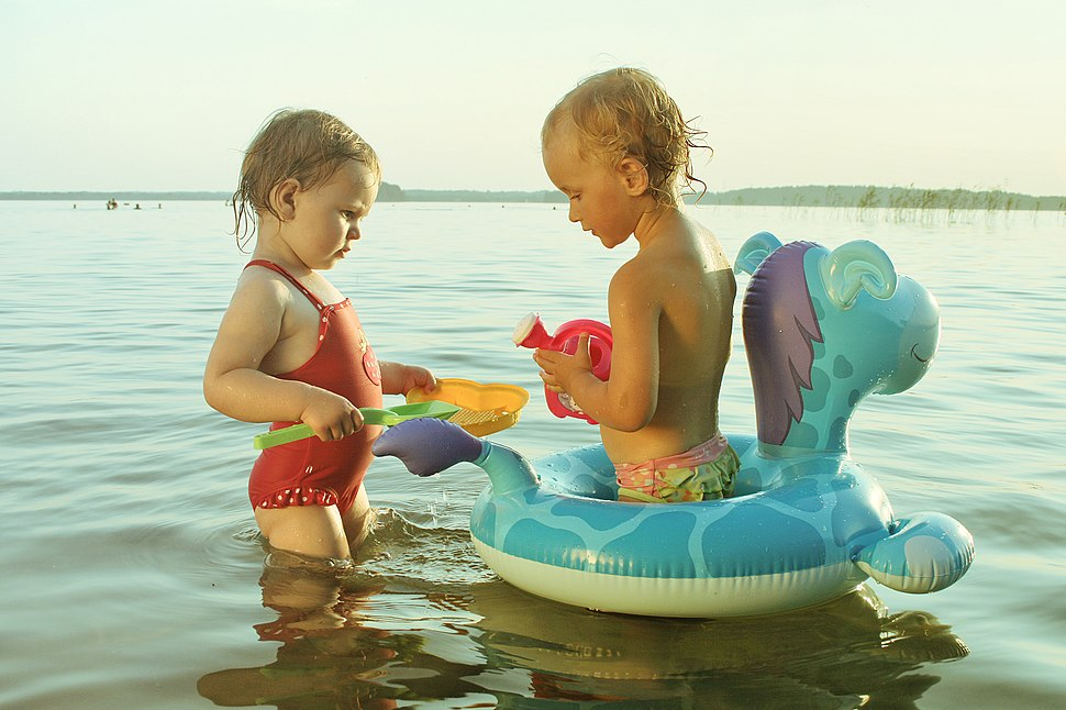In water with toys