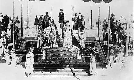 King George and Queen Mary at the Delhi Durbar, 1911 India Before the First World War; George V and Queen Mary at Delhi Durbar Q107150.jpg