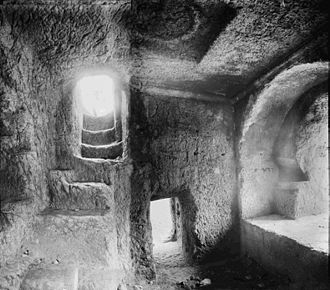 Tomb of Absalom - Inside view of Absalom's Pillar, Photoshop-morphed from the following two early 20th-century photos: