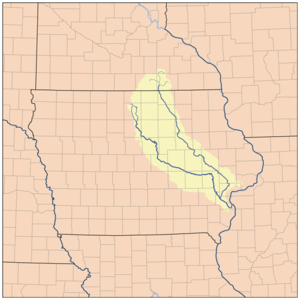 Cedar River (Iowa River tributary) - Map showing the Cedar (to the right) and Iowa (to the left) rivers.