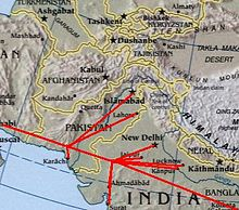 Orifinal route of the Iran–Pakistan gas pipeline