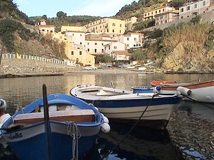 Gorgona (Italy) - The village seen from the port.
