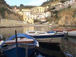 Gorgona (Italy) - The village seen from the port.
