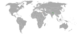 Map indicating locations of Nepal and Israel
