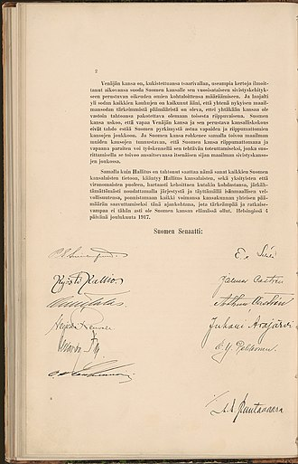 Finnish Declaration of Independence - Image: Itsenaisyysjulistus 2