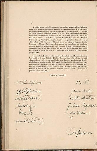 Finnish Declaration of Independence - Image: Itsenaisyysjulistus 2