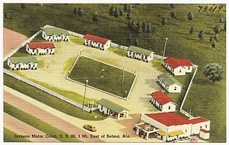 U.S. Route 80 in Alabama - Post card of the Jackson Motor Court, a Motel on US 80 near Selma.