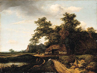 A wooded landscape with a traveller resting on a path