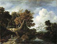 Jacob van Ruisdael - A wooded river landscape with peasants on a bridge.jpg