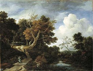 A wooded river landscape with peasants on a bridge