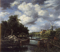 Jacob van Ruisdael - Landscape with a Windmill Near a Town Moat.jpg
