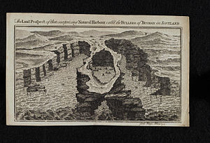 Bullers of Buchan - Engraving of the natural harbour at Bullers of Buchan, 1755