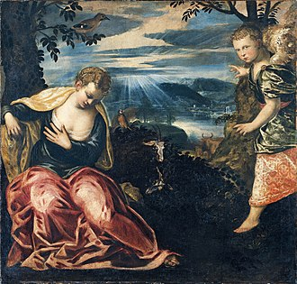Wife of Manoah - The Annunciation to Manoah's Wife by Tintoretto.