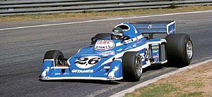 Guy Ligier - Jacques Laffite in a JS5 - 1976.