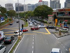 Jalan Kemajuan Subang facing NW, three-way intersection in front of Subang Parade, Subang Jaya, Malaysia (28 May 2014) (03).jpg