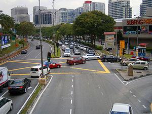 Subang Jaya - Jalan Kemajuan Subang facing Northwest at the three-way intersection near Subang Parade.