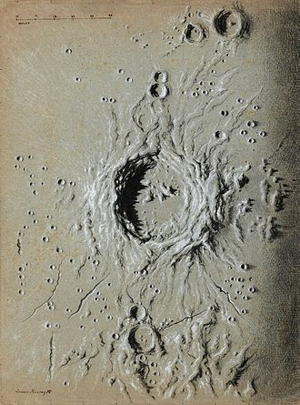 James Nasmyth - Drawing of a crater on the surface of the moon by Nasmyth
