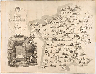 "Gastronomy - This is the first example of a carte gastronomique, a map that summarizes a country by its products at the outset of the  ""Cours Gastronomique"" by Charles Louis Cadet de Gassicourt (1809)."