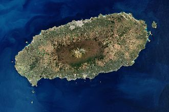 Hallasan - Satellite image showing Hallasan at the center of Jeju Island