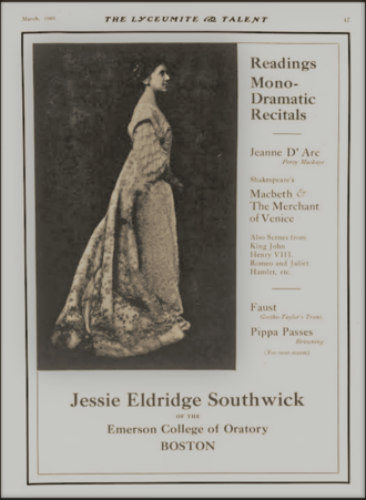Jessie Eldridge Southwick - Promotional page for platform performance and list of her performance selections, 1909