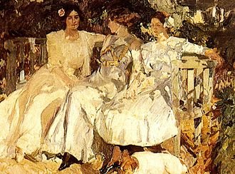 Joaquín Sorolla - My Wife and Daughters in the Garden, 1910.