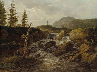 Mountainous Landscape with a Waterfall, Norway