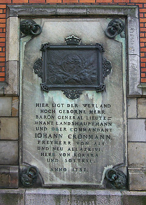Caroli Church, Malmö - Plaque for Johan Cronman at Caroli Church.