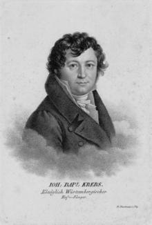 Johann Baptist Krebs (Kupferstich von Friedrich Fleischmann (1791–1834)) (Quelle: Wikimedia)