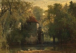 Gezicht op de beek en de oude molen in het bos van Vorden