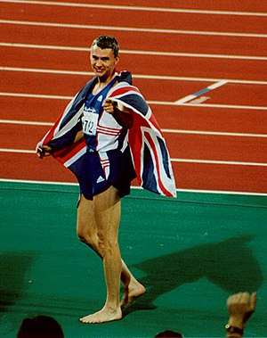 Athletics at the 2000 Summer Olympics – Men's triple jump - Jonathan Edwards celebrating his win