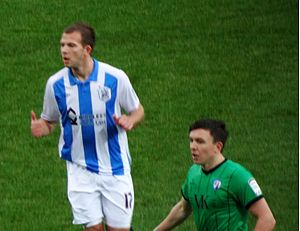 Jordan Rhodes - Rhodes (left) playing for Huddersfield Town in 2011