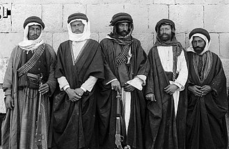 Christianity in Jordan - A small percentage of Jordanian Christians are ethnically Bedouin, the picture shows a Bedouin Christian family from Madaba in 1904