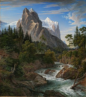 Wetterhorn - Joseph Anton Koch, The Wetterhorn with the Reichenbachtal, 1824