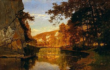 English: On the river Lesse, painting (ca. 188...
